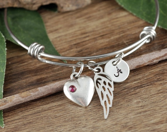 Angel Wing Bracelet, Personalized Memorial Bracelet, Sympathy Bracelet, Mother's Day Gift, Memorial Jewelry, In Memory of Mom