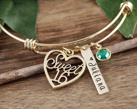 Personalized Sweet Sixteen Gift, Sweet 16 Bracelet, Sweet 16 Gift, Sweet 16th Birthday Gifts, Sweet 16 Jewelry, Gift for Teenager