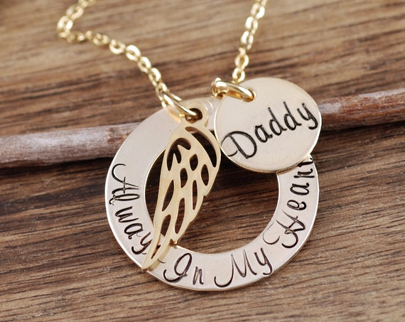 Memorial Necklace, I carry you in my Heart Necklace, Grandma Necklace, Remembrance Necklace, In Memory Gift, Loss of Dad, Angel Wing Jewelry
