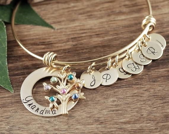 Family Tree Bracelet for Grandma, Grandmother Birthstone Bracelet, Personalized Gift, Grandma Bracelet, Gift for Grandma, Mothers Day Gift
