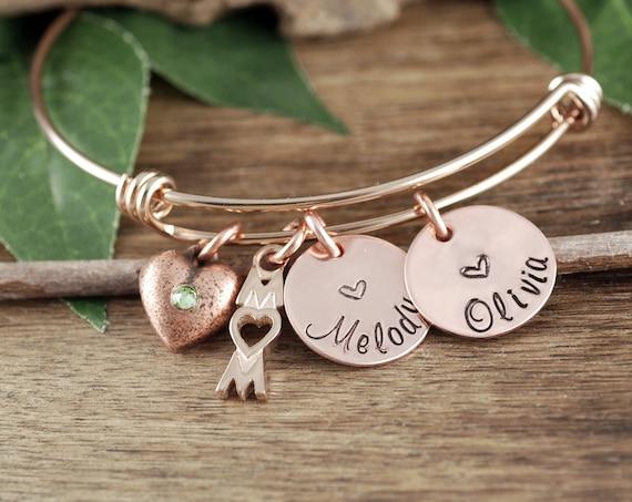 Custom Name Bracelet, Personalized Mom Bracelet, Custom Rose Gold Mom Bracelet, Gift for Mom, Mother's Bracelet, Bangle Bracelet