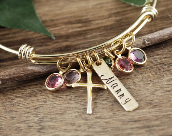 Grandma Birthstone Bracelet, Gold Cross Charm Bracelet with Birthstones, Personalized Birthstone Jewelry, Religious Bracelet, Faith Jewelry