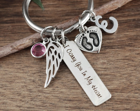 Personalized Memorial Gift, Miscarriage Key chain, Miscarriage Gift, Loss of Baby, Baby Feet Keychain, Gift for Mom, I carry you in my Heart