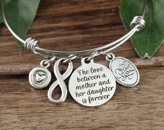 Love between a Mother & Daughter is Forever, Mother Daughter Bracelet, Gift for Mom, Infinity Bracelet, Custom Bracelet For Mom
