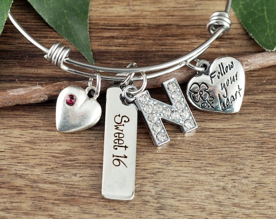 Personalized Sweet 16 Gift, Sweet Sixteen Bracelet, Sweet 16 Jewelry, Gift for Daughters Sweet 16, 16th Birthday Gift, Sweet 16 Bracelet