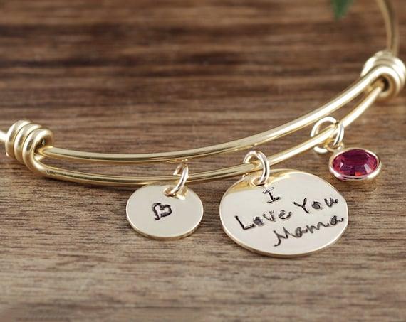 Custom Mother's Bracelet, I Love You Mama Bracelet, Gift for Mom, Personalized Mom Bracelet, Birthday Gift Mom, Gift for Mama, Mother's Gift