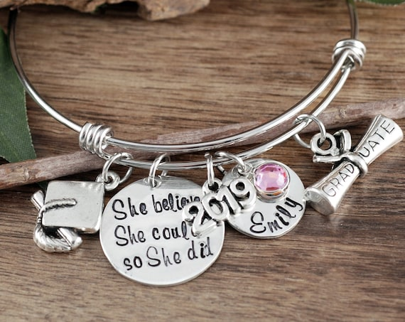 Personalized Graduation Bracelet, 2019 Graduation Bracelet, She believed she Could so she Did, Gift for Graduate, College Graduation Gift