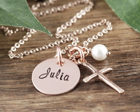 Personalized Faith Necklace, Confirmation Jewelry, Communion Necklace, Gift for Girl, Communion Cross Necklace, Confirmation Gift