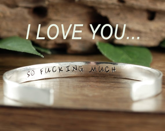 I love you so much, Cuff Bracelet, Secret Message Bracelet, Mothers Day Gift, Gift for Mom, Personalized Gift, Gift for Daughter