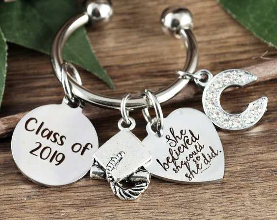 Personalized Graduation Keychain, She Believed She Could Keychain, Graduation Gift, College Graduation, Graduate Gift, Class of 2019 Gift