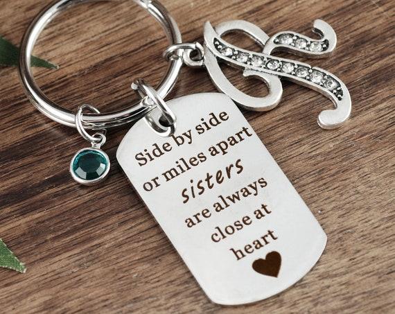 Sister Keychain, Keychain for Sister, Gift for Sister, Sister Gift, Side by Side or Miles Apart, Sisters Gift, Custom Sister Key chain