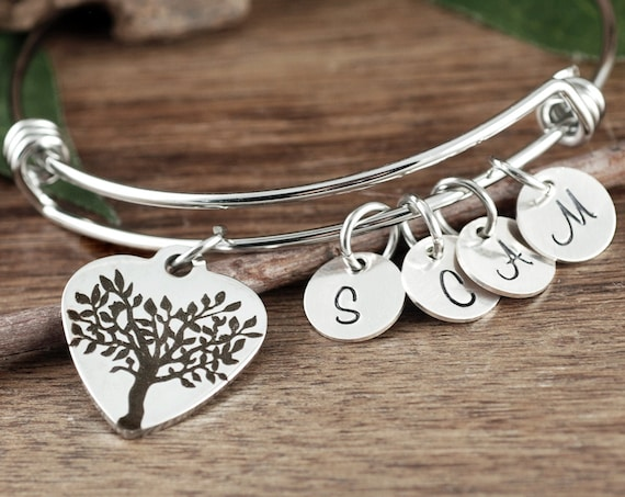 Tree of Life Bracelet for Grandma, Grandmother Gift, Silver Bracelet for Grandma, Family Tree Bracelet, For Grandma from Grandchildren