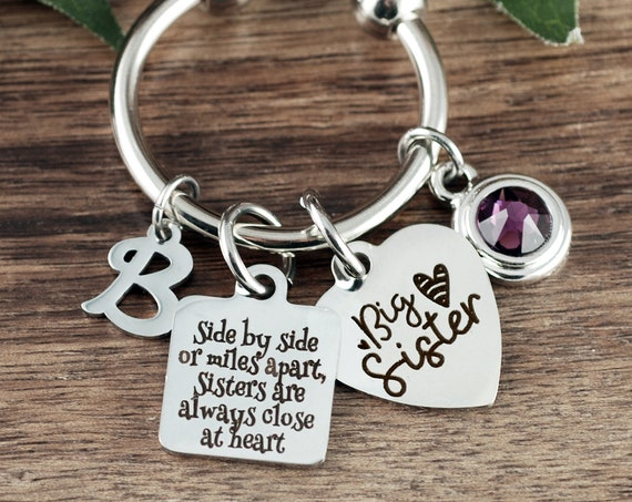 Big Sister Keyhcain, set of 2 Keychains, Sisters Gift, Gift for Sister, Little Sister Gift, Big Sister Gift, Side by Side or Miles Apart