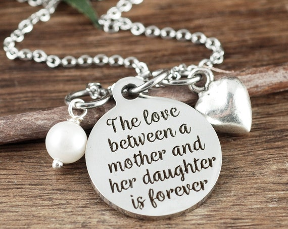 Necklace for Mom, Love between a Mother & Daughter is Forever, Mother Daughter Bracelet, Gift for Mom, Mother Daughter Necklace