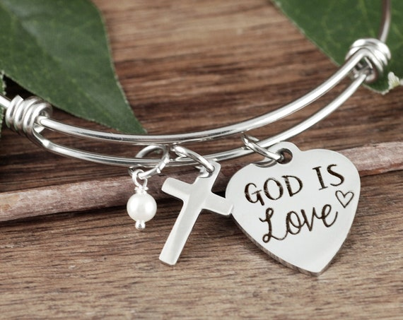 God is Love, Scripture Jewelry, Faith Charm Bracelet, Bible Verse Bracelet, Religious Gift, Confirmation Gift, Inspirational Charm Bracelet