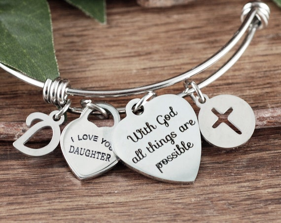 With God all things are Possible, Gift for Daughter, Faith Bracelet, Bible Verse Bracelet, Religious Gift, Encouragement Gift
