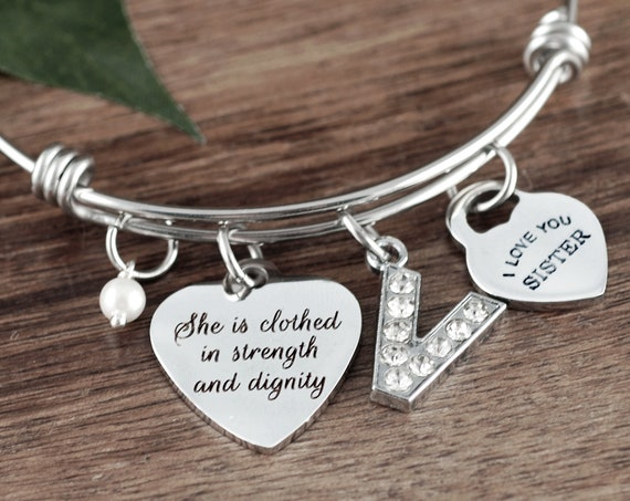 She is Clothed in Strength & Dignity, Faith Bracelet, Bible Verse Gift, Religious Gift, Proverbs 31, Bible Bracelet, Encouragement Jewelry
