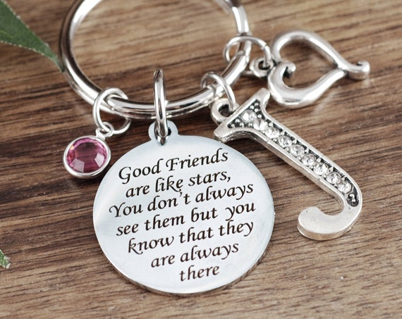 Best Friend Keychain, Friendship Keychain, Bridesmaid Gift, Gift for Friend, Good friends are like stars, Friend Gift, Birthday Friend