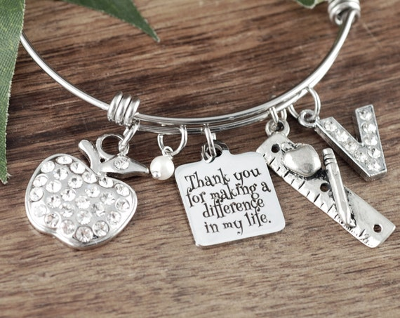 Personalized Teacher Gift, Teacher Appreciation Gift, Teacher Bracelet, Gift from Students, End of Year Gift, Teacher Bracelet, Apple charm