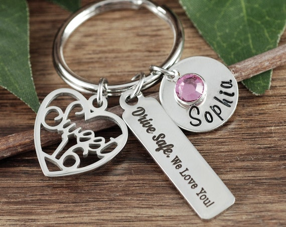 Silver Personalized Sweet 16 Keychain, Sweet 16th Birthday Gifts, Sweet Sixteen Gift, Sweet 16 Gift, Sweet 16 Key Chain, Drive Safe Keychain