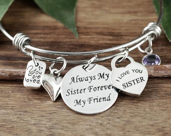 Always my Sister Forever My Friend, Bracelet for Sister, Gifts for Sister, Sisters Bracelet, Charm Bracelet, Sister Birthday Gift