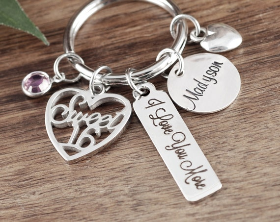 Personalized Sweet 16 Keychain, Sweet 16th Birthday Gifts, Sweet Sixteen Gift, Sweet 16 Gift, Sweet 16 Key Chain, I love you More