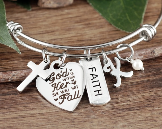 God is within her She will not Fall, Bible Verse Bracelet, Faith Jewelry, Psalm 46 5, Scripture Jewelry, Encouragement Jewelry