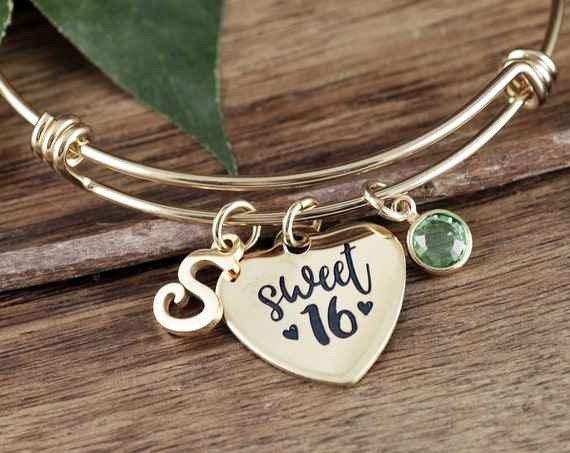 Gold Sweet 16 Gift, Sweet 16 Bracelet, Gift for Teenager, Personalized Sweet 16 Jewelry, 16th Birthday Gift, Gift for Sweet 16 GIrl