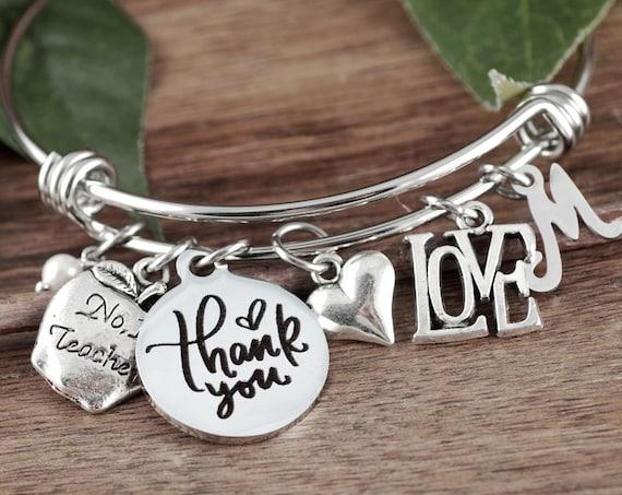 Teacher Appreciation Gift, Personalized Teacher Gift, Teacher Bracelet, Gift from Students, End of Year Gift, Teacher Bracelet, Apple charm