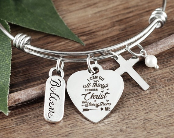 Stay Strong Gift, Survivor Gift, Bible Verse Gift, Faith Jewelry, I can do all things through Christ who strengthens me, Encouragement Gift
