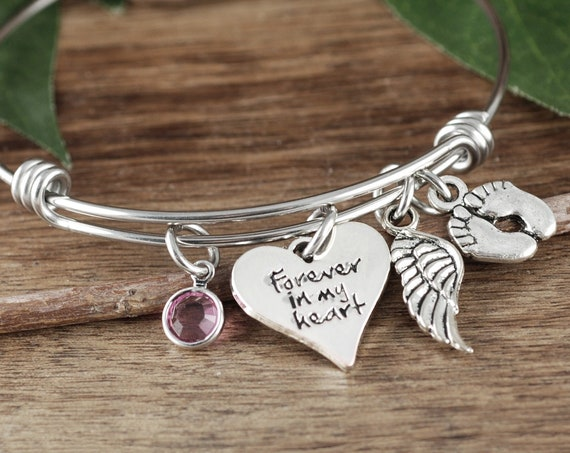 Personalized Memorial Bracelet, Forever in my Heart, Loss of Baby, Angel Baby, Memorial Gift, Baby Feet Bangle, Angel Wing Bracelet