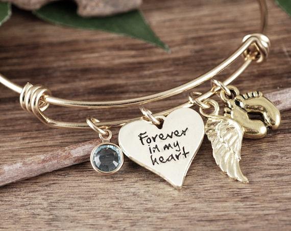 Forever in my Heart Bracelet. Personalized Memorial Bracelet, Loss of Baby, Angel Baby, Memorial Gift, Baby Feet Bangle, Angel Wing Bracelet