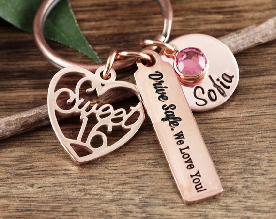 Rose Gold Sweet 16 Keychain, Personalized Sweet 16th Birthday Gifts, Sweet Sixteen Gift, Sweet 16 Gift, Sweet 16 Key Chain, Drive Safe