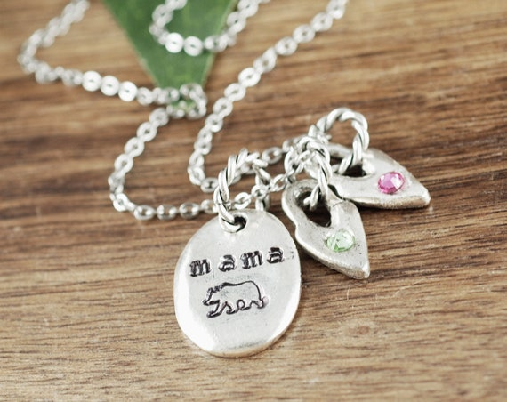Personalized Mama Bear Necklace, Mother's Birthstone Necklace, Gift for Mom, Personalized Mom Necklace, Mama Bear Jewelry, Mother's Day Gift