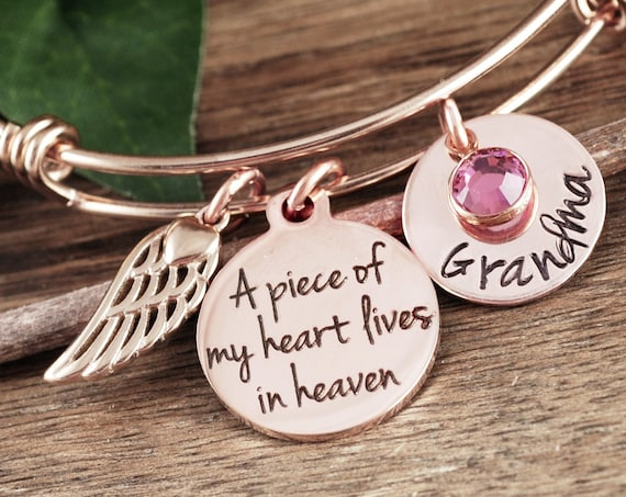 Rose Gold Memorial Bracelet, Piece of my heart lives in heaven, Personalized Memorial Bracelet, Sympathy Gift, Loss of Grandma, Remembrance