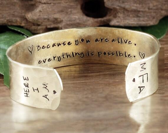 Personalized Cuff Bracelet, Inspirational Cuff Bracelet, Monogram Cuff Bracelet, Custom Cuff, Secret Message Bracelet, Quote Jewelry