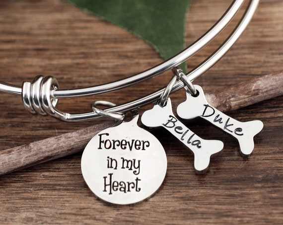 Forever in my Heart Memorial Dog Mom Bracelet, Paw Print, Pet Memorial, Pet Name Bracelet, Dog Mom Gift, Pet Jewelry, Dog Bone Bracelet