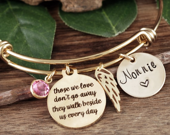 Gold Personalized Memorial Gift, Memorial Bracelet for Women, Sympathy Gift, In Memory Of,  Loss of Mother, Loss of Parent, Sympathy Gift