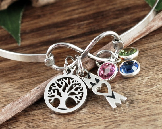 Birthstone Bracelet for Mom, Personalized Mom Bracelet, Tree of Life Bracelet, Infinity Bangle Bracelet, Family Tree Bracelet,Christmas Gift