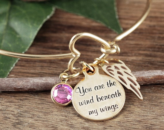Personalized Memorial Bracelet, Birthstone Jewelry, Heart Bangle Bracelet, Gold Heart Bangle Bracelet, You are the Wind beneath My Wings