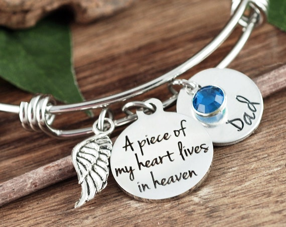 Personalized Memorial Bracelet, A piece of my heart lives in heaven, Sympathy Gift, Loss of Loved One, Silver Bangle Bracelet