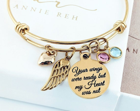 Your wings were ready my Heart was not, Gold Memorial Bracelet, Custom Memorial Gift, Sympathy Gift, Loss of Grandma, Remembrance Gift