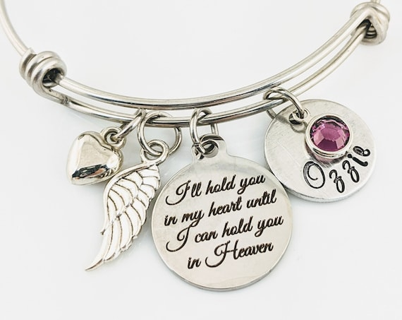 Silver Memorial Bracelet, I'll hold you in my Heart until I hold you in Heaven, Memorial Gift, Sympathy Gift, Loss of Grandma, Remembrance