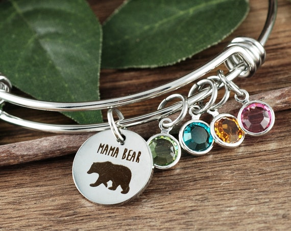 Silver Mama Bear Bracelet, Mom Gifts, Christmas Gifts for Women, Mom Birthstone Bracelet, Mom Jewelry, Mama Bear Gift, Mothers Day Jewelry