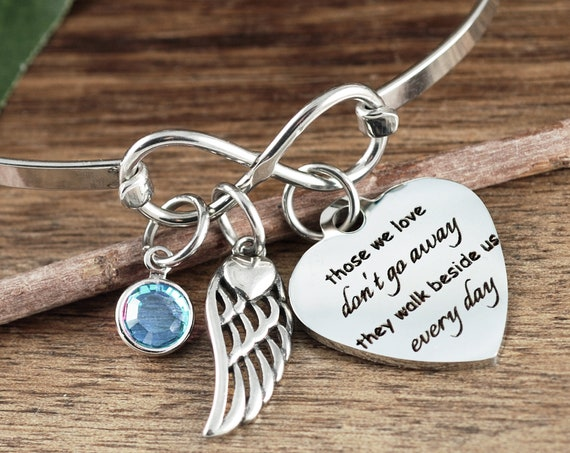 Those we love don't go away they walk beside us everyday, Memorial Bracelet, Personalized Memorial Gift, Sympathy Gift, Loss of Parent