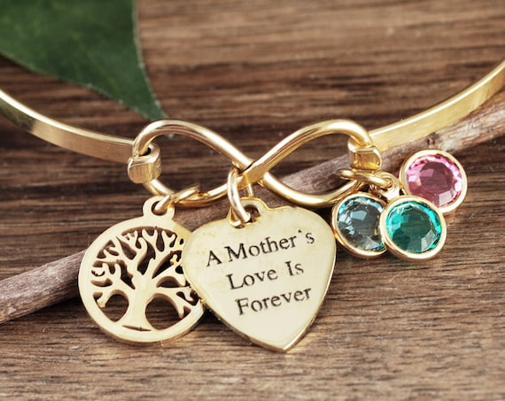 Personalized Family Tree Bracelet, A Mother's Love is Forever, Infinity Bracelet, Infinity Bangle Bracelet, Birthstone Bracelet for Mom