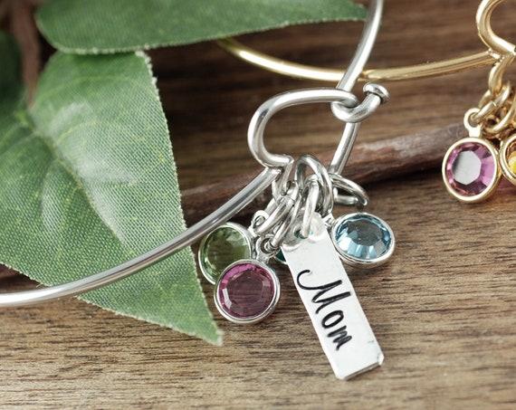 Mother's Birthstone Bracelet, Birthstone Jewelry, Heart Bangle Bracelet, Silver Heart Bangle Bracelet, Mom Bracelet, Gift for Mom