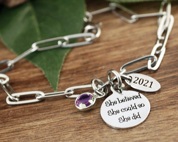 Silver She Believed She Could So She Did Charm Bracelet, Graduation Gift, Graduation Bracelet, College Graduate, Gift for Her, Class of 2021