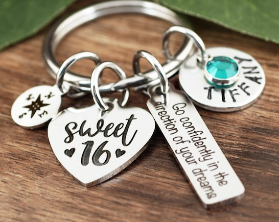 Sweet 16 Keychain, Personalized Sweet 16th Birthday Gifts, Sweet 16 Gift, Go Confidently in the Direction of your Dreams, Inspirational Gift