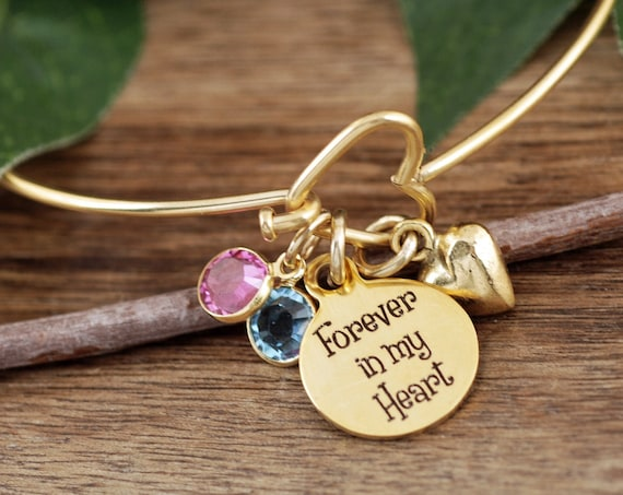Forever in my Heart, Memorial Gift, Personalized Memorial Bracelet, Sympathy Gift, Heart Bangle Bracelet, Silver Heart Bangle Bracelet